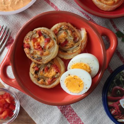 Mushroom and Capsicum Pastry Pinwheels - Chris's Dips