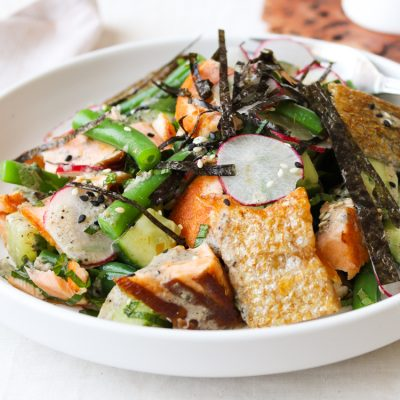 Grilled Salmon Salad with Toasted Sesame Seed Dressing - The Muesli