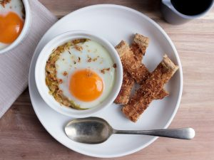 Coddled egg with butter soy sauce, leek and mashed pumpkin